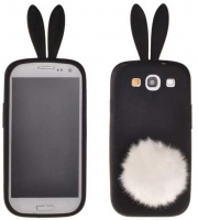 Capa Silicone (3D RABBIT) Iphone 4, Iphone 4S Preto