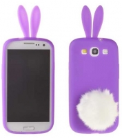 Capa Silicone (3D RABBIT) Iphone 4, Iphone 4S Roxo