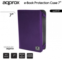 Capa  Flip Book  APPROX para Tablet Universal 7  Tipo Pele Roxo