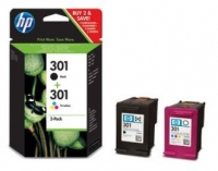 Pack Combo Tinteiro HP 301 Preto + HP 301 Tricor + Papel Original