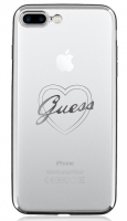 Capa Iphone 7 Plus  GUESS Heart  TPU Prata em Blister