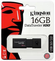Pen Kingston 16GB Datatraveler 3.0 100 G3 Usb DT100G3 Preto em Blister