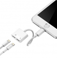 Adaptador Apple Lightning Carga e Musica Iphone 5S, Iphone 6S, Iphone 7, Iphone 8, Iphone X Branco Compativel
