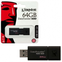 Pen Kingston 64GB Datatraveler 3.0 100 G3 Usb DT100 G3 Preto em Blister