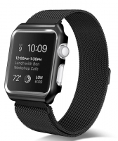 Bracelete Apple Watch Series 1 / 2 / 3 (42 mm) Metal com Carcasa Preto