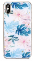 Capa Huawei Y7 2019 Silicone  Marble  Design 2 Azul
