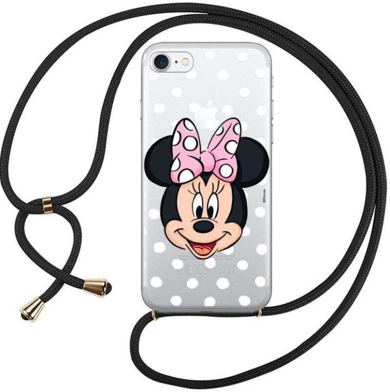 """Capa Iphone 7, Iphone 8, Iphone SE 2020  Disney """"Minnie"""" Licenciada Silicone com Cordão em Blister"""